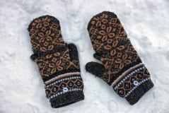 Δύο καφετιά μάλλινα γάντια στο άσπρο χιόνι Στοκ Εικόνα