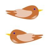 Δύο καφετιά πουλιά Στοκ Φωτογραφία