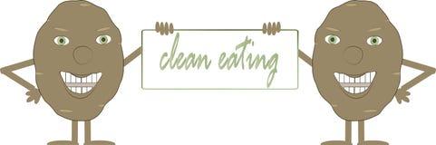Δύο καφετιές πατάτες χαμόγελου με έναν πίνακα, καθαρή κατανάλωση επιγραφής, χέρια, πόδια, πράσινα μάτια, άσπρο υπόβαθρο Στοκ εικόνα με δικαίωμα ελεύθερης χρήσης