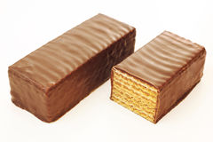Δύο καλυμμένοι με σοκολάτα φραγμοί βαφλών Στοκ Εικόνες