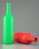 Δύο κενά μπουκάλια κρασιού διανυσματική απεικόνιση