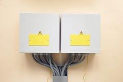 Δύο κιβώτια με τον ηλεκτρικό εξοπλισμό Στοκ Εικόνα