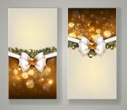 Δύο κομψές ευχετήριες κάρτες Χριστουγέννων με το τόξο και το κόσμημα Στοκ φωτογραφίες με δικαίωμα ελεύθερης χρήσης