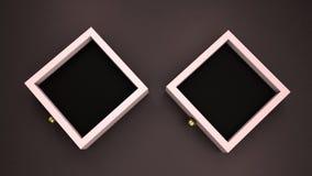 Δύο κομψές ρόδινες περιπτώσεις κοσμημάτων στο σκοτεινό πρότυπο προτύπων υποβάθρου, τρισδιάστατο δίνουν διανυσματική απεικόνιση