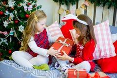 Δύο κορίτσια δίνουν τα δώρα Χριστουγέννων Στοκ φωτογραφία με δικαίωμα ελεύθερης χρήσης