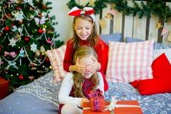 Δύο κορίτσια δίνουν τα δώρα Χριστουγέννων Στοκ εικόνα με δικαίωμα ελεύθερης χρήσης