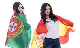 Δύο κορίτσια αδελφών - Πορτογαλία και Ισπανία - φίλοι για πάντα Στοκ εικόνα με δικαίωμα ελεύθερης χρήσης