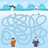 Δύο κορίτσια κάνουν δύο χιονανθρώπους Βρείτε ποιανού είναι πού; Εικόνα παιδιών ` s με ένα αίνιγμα ελεύθερη απεικόνιση δικαιώματος
