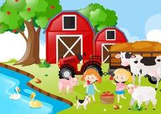 Δύο κορίτσια και ζώα αγροκτημάτων από τον ποταμό διανυσματική απεικόνιση