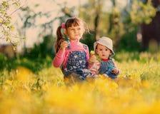 Δύο κορίτσια παίζουν με τις φυσαλίδες σαπουνιών την άνοιξη στοκ εικόνα