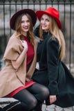 Δύο κορίτσια που κάθονται στον πάγκο και το χαμόγελο Στοκ Φωτογραφίες