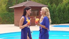 Δύο κορίτσια στηρίζονται κοντά στη λίμνη με τα κοκτέιλ στα χέρια απόθεμα βίντεο
