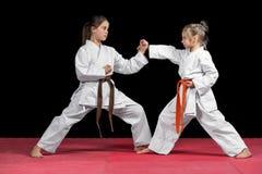 Δύο κορίτσια στο κιμονό εκπαιδεύουν ταξινομημένο κατά ζεύγος karate ασκήσεων Στοκ Εικόνες