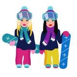 Δύο κορίτσια στο σνόουμπορντ, ξανθός και το brunette απεικόνιση αποθεμάτων