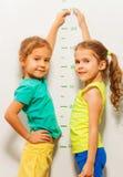 Δύο κορίτσια χαμογελούν παρουσιάζουν ύψος στην κλίμακα τοίχων στο σπίτι στοκ εικόνα