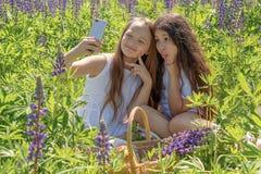 Δύο κοριτσάκια κάνουν selfie σε ένα τηλέφωνο μεταξύ των λουλουδιών σε έναν τομέα μια ηλιόλουστη ημέρα στοκ εικόνες