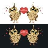 Δύο κουκουβάγιες με την καρδιά ευτυχής s βαλεντίνος ημέρ&alp - Διανυσματική απεικόνιση διανυσματική απεικόνιση