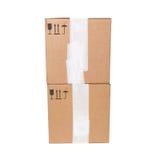 Δύο κουτιά από χαρτόνι με τα τυποποιημένα μαύρα σημάδια που απομονώνονται Στοκ Φωτογραφία