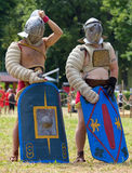 Δύο κρανοφόροι Gladiators Στοκ Φωτογραφία