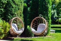 Δύο κρεμώντας καρέκλες στον κήπο την ηλιόλουστη θερινή ημέρα Στοκ Εικόνα