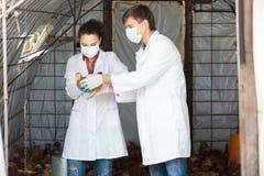Δύο κτηνίατροι στα άσπρες παλτά και τις μάσκες Στοκ φωτογραφία με δικαίωμα ελεύθερης χρήσης