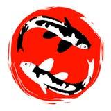 Δύο κυπρίνοι koi και κόκκινο χέρι ήλιων που σύρονται Στοκ εικόνες με δικαίωμα ελεύθερης χρήσης