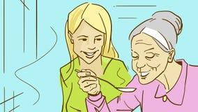 Δύο κυρίες μαγειρεύουν Νεολαίες και ηλικιωμένες γυναίκες ελεύθερη απεικόνιση δικαιώματος