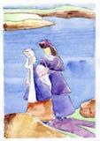 Δύο κυρίες στην παραλία ελεύθερη απεικόνιση δικαιώματος