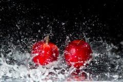Δύο κόκκινα μήλα στον παφλασμό νερού Στοκ εικόνα με δικαίωμα ελεύθερης χρήσης