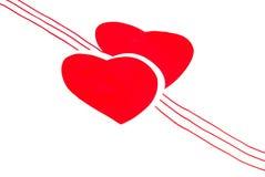 Δύο κόκκινες καρδιές αγάπης Στοκ Φωτογραφία
