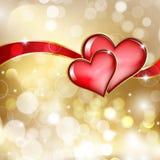 Δύο κόκκινες καρδιές γυαλιού Στοκ Φωτογραφία