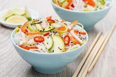 Δύο κύπελλα της ταϊλανδικής σαλάτας με τα λαχανικά, νουντλς ρυζιού, κοτόπουλο στοκ εικόνες με δικαίωμα ελεύθερης χρήσης
