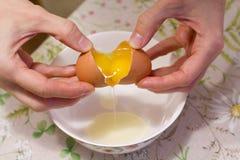 Δύο λέκιθοι σε ένα αυγό 2 ?? 1 Τα χέρια των γυναικών ανοίγουν ένα μοναδικό αυγό με δύο λέκιθους Η διαδικασία τα αυγά για την κατα στοκ φωτογραφίες με δικαίωμα ελεύθερης χρήσης