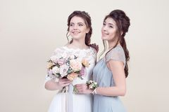 1f913eea5358 Δύο λατρευτές γυναίκες που φορούν στα μακριά μοντέρνα φορέματα στοκ εικόνα  με δικαίωμα ελεύθερης χρήσης