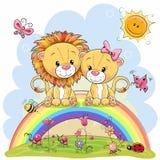 Δύο λιοντάρια κάθονται στο ουράνιο τόξο ελεύθερη απεικόνιση δικαιώματος