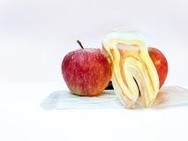 Δύο μήλα που υποστηρίζουν το artficial δόντι (στη σφραγισμένη μάσκα) Στοκ Φωτογραφία