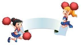 Δύο μαζορέτες με ένα σύστημα σηματοδότησης διανυσματική απεικόνιση