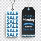 Δύο μακριές αυτοκόλλητες ετικέττες Cyber τιμών Δευτέρα έξοχο SaleTransparent Απεικόνιση αποθεμάτων