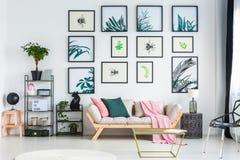 Δύο μαξιλάρια και ρόδινο κάλυμμα που τοποθετούνται στον καναπέ που στέκεται στο άσπρο εσωτερικό καθιστικών με τις εγκαταστάσεις κ Στοκ Φωτογραφίες