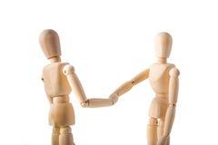Δύο μαριονέτες που τινάζουν τα χέρια Στοκ Εικόνα