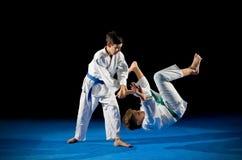 Δύο μαχητές πολεμικών τεχνών αγοριών στοκ φωτογραφίες