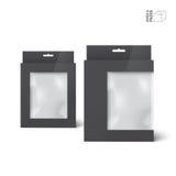 Δύο μαύρα διανυσματικά κιβώτια συσκευασίας προϊόντων με το παράθυρο Στοκ Εικόνες