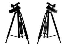 Δύο μαύρες κάμερες με ένα τρίποδο διανυσματική απεικόνιση