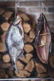 Δύο μεγάλα καπνισμένα ψάρια κρεμούν στο υπόβαθρο του συσσωρευμένου καυσόξυλου Στοκ εικόνες με δικαίωμα ελεύθερης χρήσης