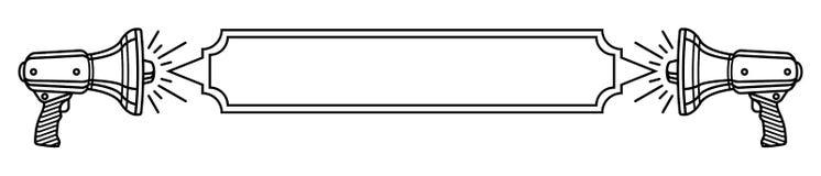 Δύο μεγάφωνα και ένα κενό έμβλημα μεταξύ του λεπτού γραπτού προτύπου γραμμών για το μήνυμά σας ελεύθερη απεικόνιση δικαιώματος