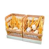 Δύο μεγάλα καλάθια με τα διαφορετικά ψωμιά Στοκ εικόνα με δικαίωμα ελεύθερης χρήσης