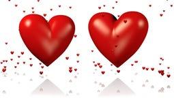 Δύο μεγάλες και κόκκινες καρδιές με τα μέρη των μικροσκοπικών καρδιών ελεύθερη απεικόνιση δικαιώματος