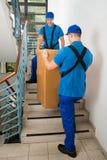 Δύο μετακινούμενοι που στέκονται με το κιβώτιο στη σκάλα Στοκ φωτογραφία με δικαίωμα ελεύθερης χρήσης