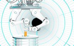 Δύο μηχανικά όπλα που αφαιρούν ένα δείγμα ενός σωλήνα εργαστηριακών τεστ - φανταστική σκηνή Στοκ Εικόνα