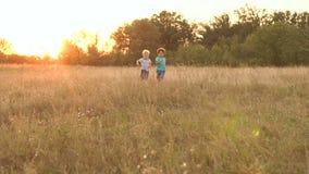 Δύο μικρά αγόρια που οργανώνονται πέρα από τον τομέα στο ηλιοβασίλεμα, αργό MO φιλμ μικρού μήκους